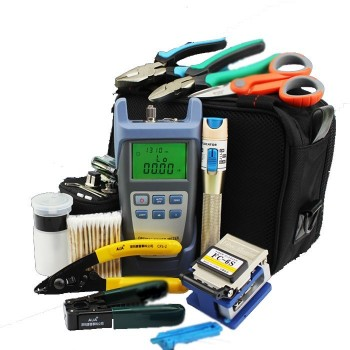 18pcs/set Fiber Optic FTTH Tool Kit with FC-6S Fiber Cleaver and Optical Power Meter 1Mw Visual Fault Locator Wire strippers