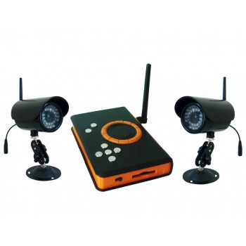 2.4GHz Wireless Digital DVR kit ,2pcs Waterproof IR LED Night Vision Camera + 1pcs Wireless DVR Receiver SD Card