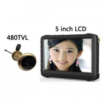 5.8G Wireless Door Peephole Camera with DVR,100m Range 90 Degree VOA ;5-inch Screen,Motion Detect Recording