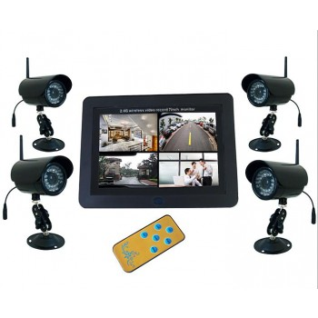 "7"" LCD Wireless Digital DVR Kit 4pc IR Video Outdoor Waterproof Camera +1pc DVR Receiver SD Card for Home Security"