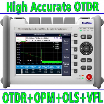 8000MAX OTDR 850/1300/1310/1490/1550/1625nm Optional Wavelength Fiber Optic OTDR Reflectometer FTTH With VFL OPM OLS Event Map