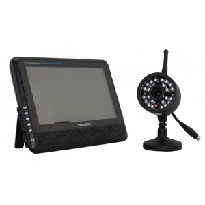 """2.4G Wireless Cameras Audio Video Baby 7/"""" Monitors 4CH Quad DVR With 1 Camera"""