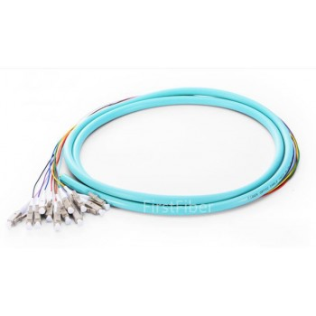 12 Fibers Pigtail LC OM3 50/125 Multimode OM3 Bunch 12 core Fiber Optic Pigtail - 0.9mm Sub Cables