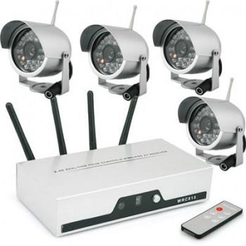 2.4Ghz 4CH Real-time Wireless Camera DVR Kit 4pcs IR Night Vision CCTV Camera +1pcs Quad DVR
