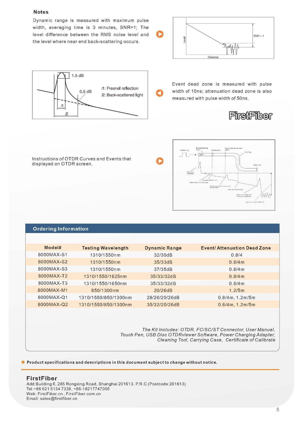 FirstFiber 8000MAX High Accurate OTDR